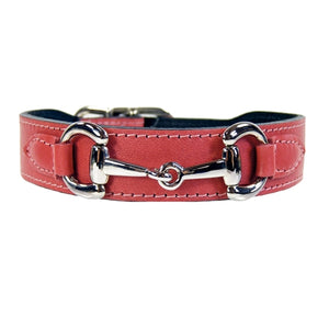 BELMONT Style Dog Collar in Petal Pink & Nickel