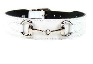 BELMONT Style Dog Collar in White Patent