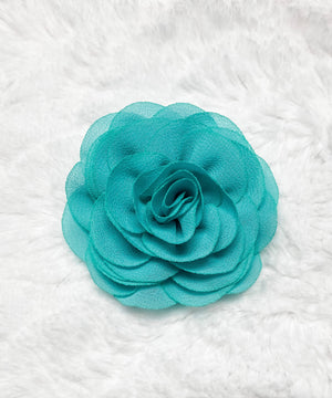 Chiffon Flower Hair Bow in Teal