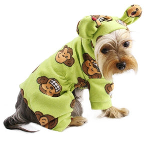 Silly Monkey Fleece Hooded Pajamas - Lime