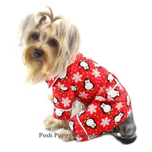 Penguins & Snowflake Flannel Pajama -Red