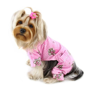 Adorable Teddy Bear Love Flannel Pajamas - Pink