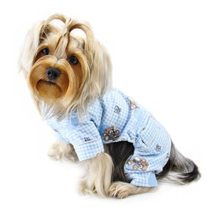 Adorable Teddy Bear Love Flannel Pajamas - Blue