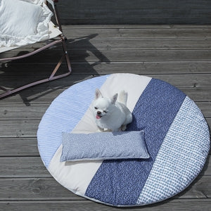 Louis Dog Capri Rug in Lime and Stripes