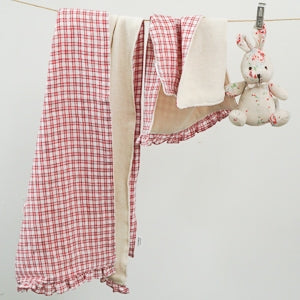 Louis Dog Picnic Towel in Red Check