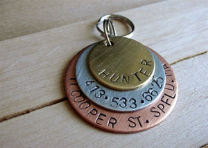 Layered Custom Pet ID-The Hunter- Handstamped