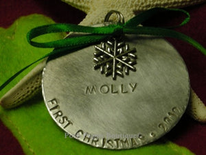 Puppy's First Christmas Ornament- Snowflake - Customize