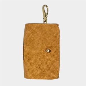 Vegan Saffiano Leather Waste Pouch in Dark Cheddar