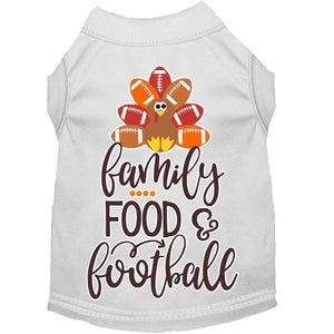 Family, Food, and Football Screen Print Dog Shirt in Many Colors