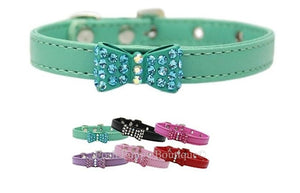 Bow-dacious Crystal Dog Leather Collar- Many Colors