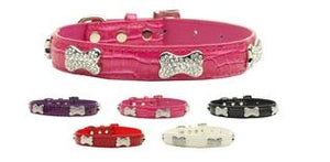 Faux Croc Crystal Bone Collars - Many Colors