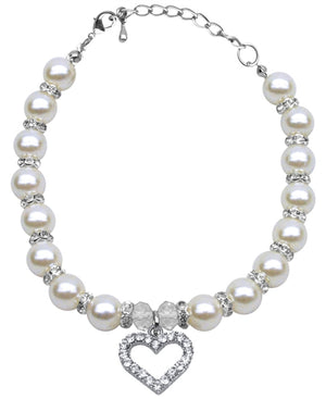 Heart and Pearl Necklace- White