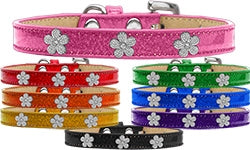 Ice Cream Collar Collection Silver Flower Widget Leather Collar - Many Colors