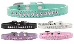 Light Pink Crystal Leather Puppy Collar- Many Colors