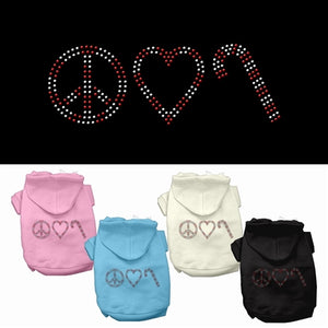 Peace, Love and Candy Canes Rhinestone Hoodie