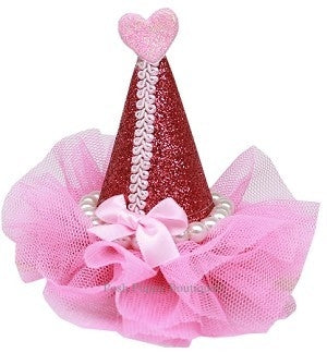 Pearl-Wrapped Party Hat Clip-on- Bright Pink