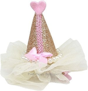 Pearl-Wrapped Party Hat Clip-on- Gold
