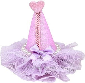 Pearl-Wrapped Party Hat Clip-on- Lavender