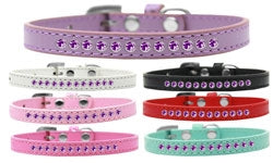 Purple Crystal Leather Puppy Collar- Many Colors