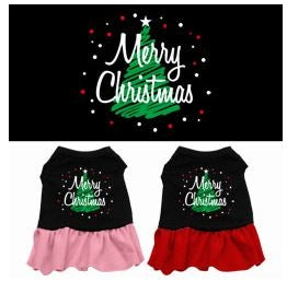 Scribble Merry Christmas Screen Print Dress