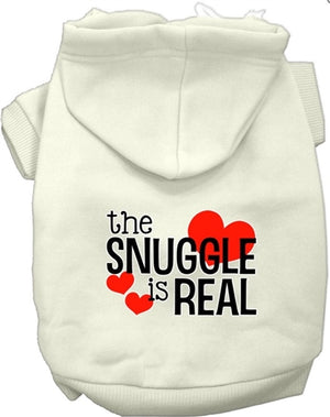 The Snuggle is Real Screen Print Dog Hoodie in Many Colors