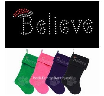 Velvet Pet Stocking- Rhinestone Believe- Many Colors