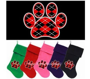 Velvet Pet Stocking- Screen Print Red Argyle Paw- Many Colors