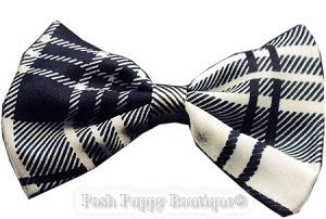 Dog Bowtie-Black and White Plaid