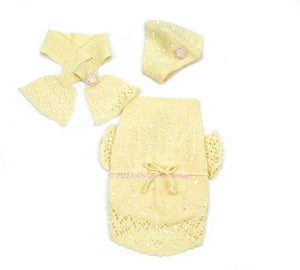 Buttercup Baby Sweater, Beanie & Scarf Set