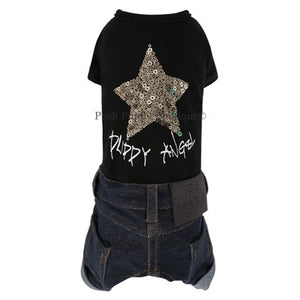 PuppyAngel BanJac Gold Star Denim Overall - Black
