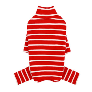 PuppyAngel High Neck Sleeve Stripes Overall - Red