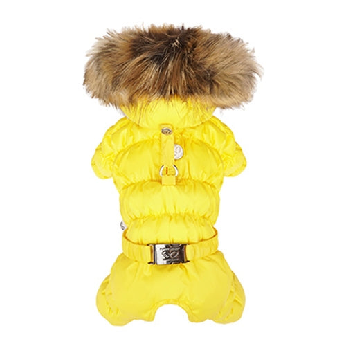 PuppyAngel ANGELER Gaufre Hood Padding Overalls for Girls - Yellow
