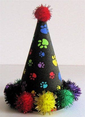 Black with Colorful Paws Party Hat