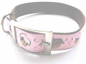 Brown-Pink Cupcake Ribbon Trim Dog Collar