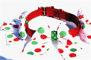 Red Collar - Green & Red Dotted Large Bows