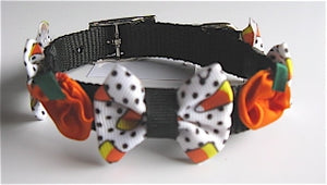 Halloween Small Bow Collars -Candy Corn