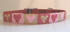 Hand Painted Glittered Red, Pink & Gold Heart Blocks Red Collar