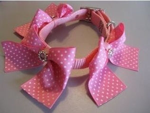 Pink Collar -Large Pink Swiss Dot Bows w-Rhinestone Buckles