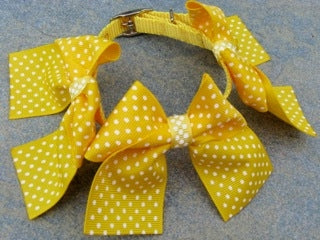 Yellow Collar - Large Yellow Swiss Dot Bows