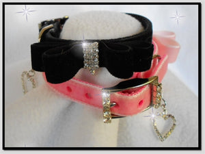 My Little Velvet Bowtie Collar in Pink or Black