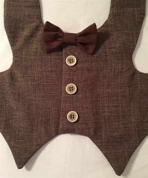 Tuxedo Vest - Brown with Tan Buttons