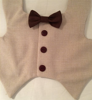Tuxedo Vest - Tan with Brown Buttons