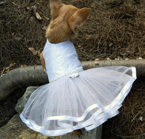 Couture White Princess Bride Tutu Harness Dress