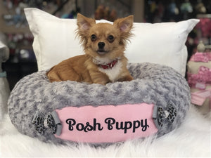 Susan Lanci Custom Bed in Platinum and Puppy Pink