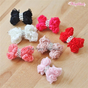 Wooflink Rose Hair Bow- Many Colors