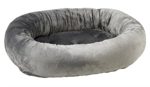 Grey Teddy Fur Donut Bed