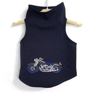 Studded Motorcycle Tank in Navy
