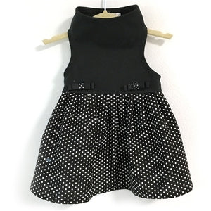 Top with Black & White Dot Skirt in Black