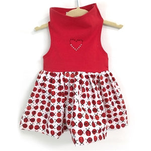 Top with Red & White Ladybug Print in Red