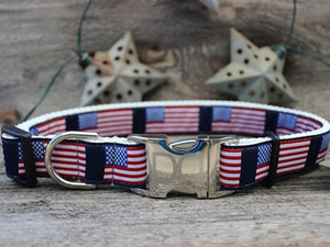Stars n Stripes Collection Collar- All Metal Buckles